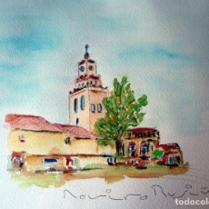 Arte: SANT QUIRZE DEL VALLES IGLESIA ACUARELA ORIGINAL ÚNICA FIRMADA Y CERTIFICADA. Lote 86491976
