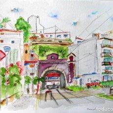 Arte: SANT POL DE MAR ESTACIO ACUARELA ORIGINAL ÚNICA FIRMADA Y CERTIFICADA. Lote 86492672