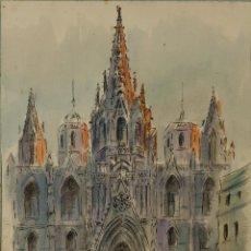 Arte: TINTA Y ACUARELA SOBRE PAPEL CATEDRAL BARCELONA FIRMADO J.MUSONS 42. Lote 86554452