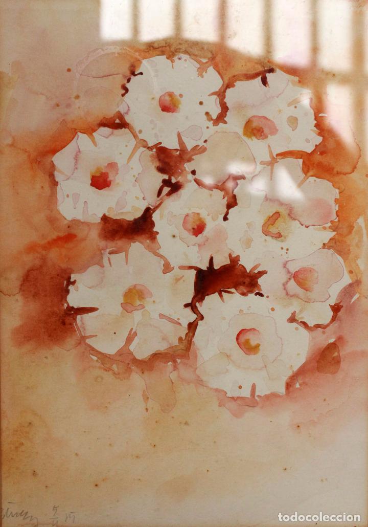 Arte: Acuarela sobre papel, con motivos florales, enmarcada. Firma ilegible. 41x52cm. (enmarcado) S.xx - Foto 2 - 86561416