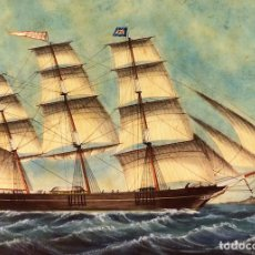 Arte: FRAGATA MENSAJERA. ACUARELA S. PAPEL. FIRMADO J. BARNEDA. BARCELONA. ESPAÑA 1887. Lote 86823588
