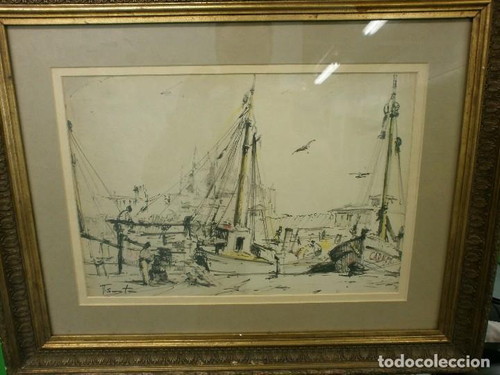 BARCOS EN EL PUERTO - RICARDO SACRISTÁN ARRIETA (VITORIA, 1921 - 1981) - ACUARELA (Arte - Acuarelas - Contemporáneas siglo XX)