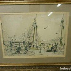 Arte: BARCOS EN EL PUERTO - RICARDO SACRISTÁN ARRIETA (VITORIA, 1921 - 1981) - ACUARELA. Lote 86894384