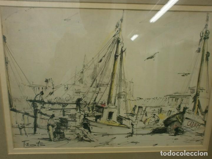 Arte: BARCOS EN EL PUERTO - RICARDO SACRISTÁN ARRIETA (Vitoria, 1921 - 1981) - ACUARELA - Foto 2 - 86894384