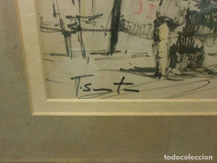 Arte: BARCOS EN EL PUERTO - RICARDO SACRISTÁN ARRIETA (Vitoria, 1921 - 1981) - ACUARELA - Foto 3 - 86894384