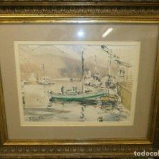 Arte: BARCOS EN EL PUERTO - RICARDO SACRISTÁN ARRIETA (VITORIA, 1921 - 1981) - ACUARELA. Lote 86894760