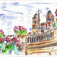 Arte: ROMA - ACUARELA ORIGINAL ÚNICA FIRMADA Y CERTIFICADA -. Lote 86941252
