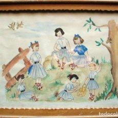 Arte: ACUARELA/PAPEL 24 X 18 CM. ILUSTRACIÓN INFANTIL MEDIADOS S. XX. CON MARCO DE ÉPOCA 28 X 22 CM.. Lote 122337972