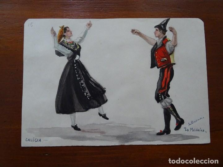 DIBUJOS DE TRAJES Y BAILES DE ESPAÑA, 24 X 17 APROXIMADAMENTE, BUENDÍA, GALICIA MUIÑEIRA (Arte - Acuarelas - Contemporáneas siglo XX)