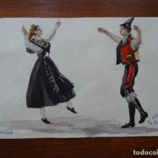 Arte: DIBUJOS DE TRAJES Y BAILES DE ESPAÑA, 24 X 17 APROXIMADAMENTE, BUENDÍA, GALICIA MUIÑEIRA. Lote 87161840