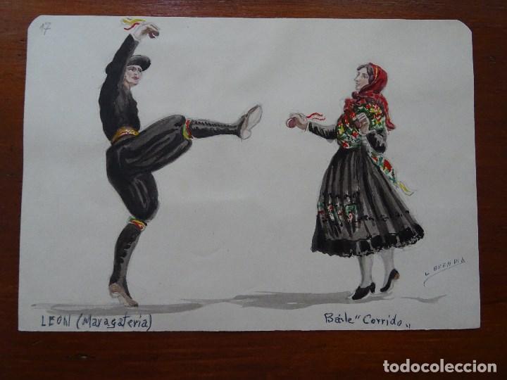 DIBUJO ORIGINAL TRAJES Y BAILES DE ESPAÑA, 24 X 17 APROX, BUENDÍA, LEÓN, MARAGATERÍA CORRIDO (Arte - Acuarelas - Contemporáneas siglo XX)