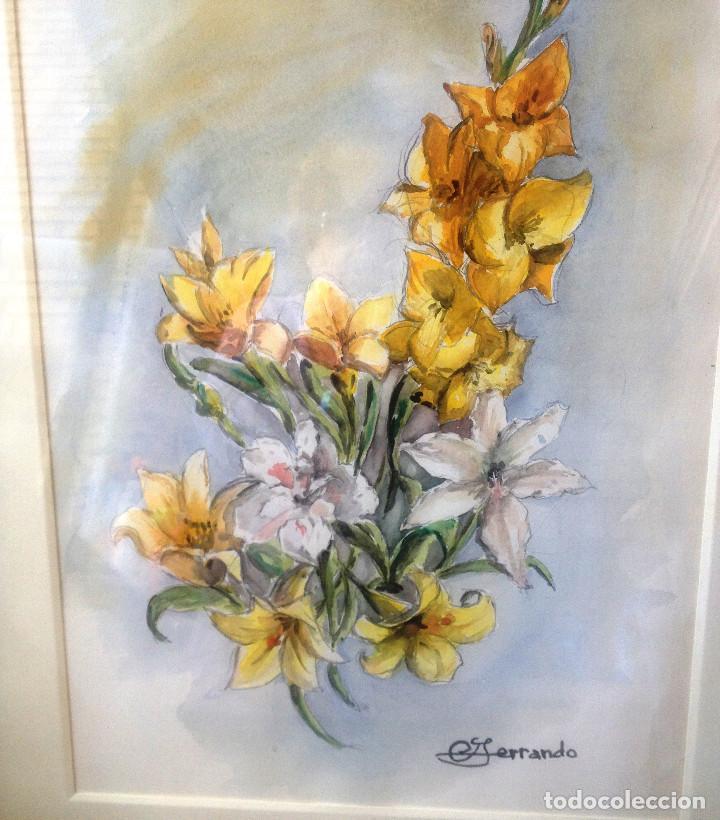 Arte: Acuarelas- Varas amarillo y blanco- firmado- con marco, cristal y paspartuf - Foto 2 - 87351096