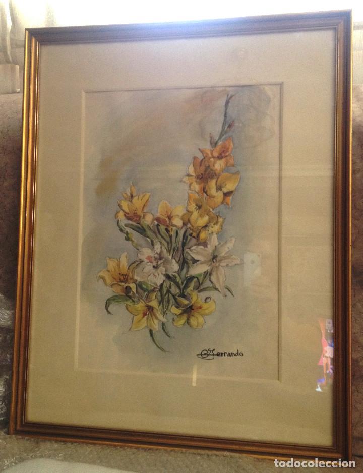 Arte: Acuarelas- Varas amarillo y blanco- firmado- con marco, cristal y paspartuf - Foto 3 - 87351096