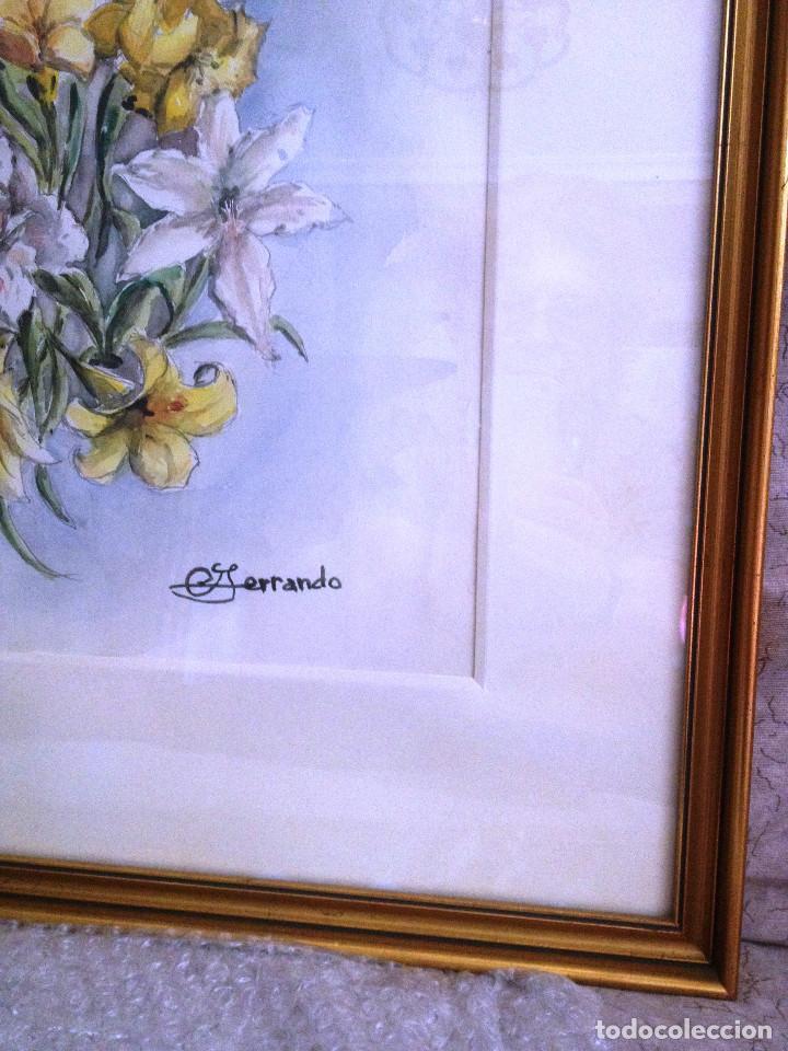 Arte: Acuarelas- Varas amarillo y blanco- firmado- con marco, cristal y paspartuf - Foto 4 - 87351096