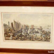 Arte: JOAN COLOM AGUSTÍ (ARENYS DE MAR,1879-1969) ACUARELA PAPEL TITULADO UN PORT DE INDOCHINA. AÑO 1951. Lote 87422252
