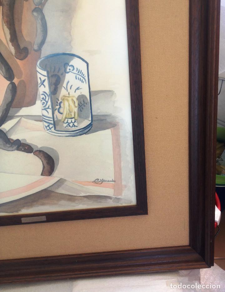 Arte: Cuadro ACUARELA, tamaño grande, doble enmarcado, tapiceria rustica y marco madera- FIRMADO - Foto 2 - 87436128