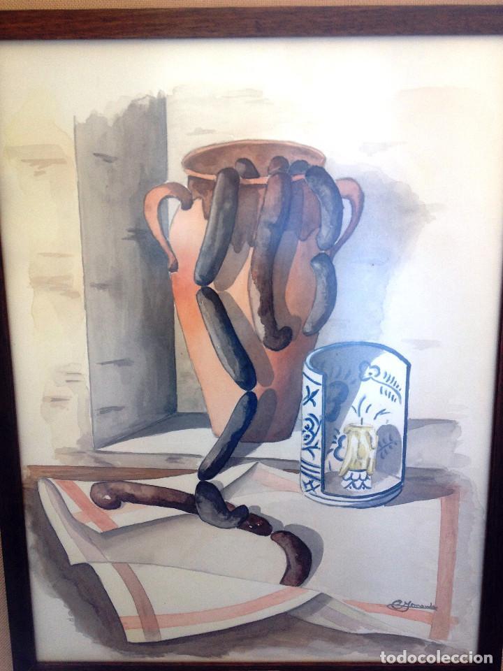 Arte: Cuadro ACUARELA, tamaño grande, doble enmarcado, tapiceria rustica y marco madera- FIRMADO - Foto 3 - 87436128
