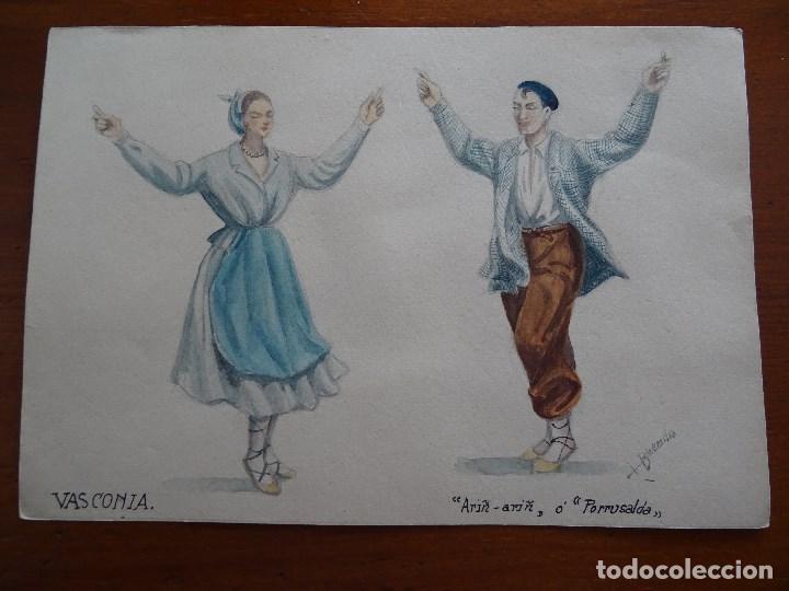 DIBUJOS DE TRAJES Y BAILES DE ESPAÑA, 24 X 17 APROXIMADAMENTE, BUENDÍA, PAÍS VASCO, ARIÑ PORRUSALDA (Arte - Acuarelas - Contemporáneas siglo XX)