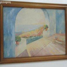 Arte: ANTIGUA ACUARELA - MARINA - FIRMADA J. CREUS - AÑO 1946 - CON MARCO. Lote 87791936