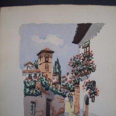 Arte: ACUARELA SOBRE PAPEL GRUESO=VISTA DE GRANADA=FIRMADO POR M. TRABADO-MEDIDA 30 X 21 .. Lote 88152700