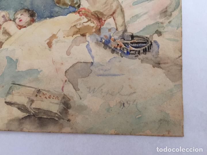 Arte: ACUARELA BOCETO ALEGORÍA DEL COMERCIO, FIRMADO WSSEL - 1000-005 - Foto 12 - 43135690