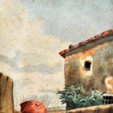 Arte: ESCUELA ESPAÑOLA (SIGLO XIX) ACUARELA SOBRE PAPEL. PERSONAJE CON BURRO. Lote 88754828