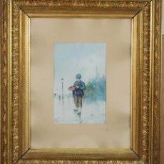 Arte: VENDEDOR DE TABACO ACUARELA SOBRE PAPEL FIRMADO F GARCÍA 1885. Lote 89269844