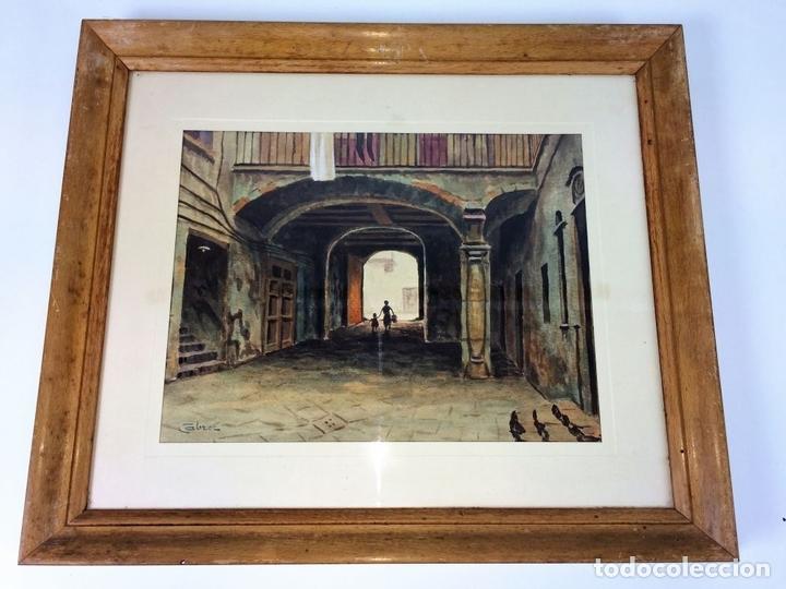 Arte: PATIO DE CASA. ACUARELA SOBRE PAPEL. FIRMADO CABRER. ESPAÑA SIGLO XX - Foto 2 - 89576044