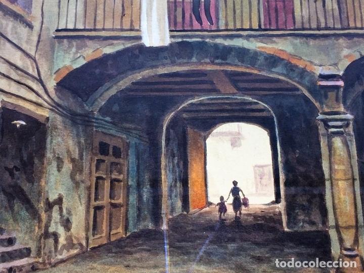 Arte: PATIO DE CASA. ACUARELA SOBRE PAPEL. FIRMADO CABRER. ESPAÑA SIGLO XX - Foto 4 - 89576044