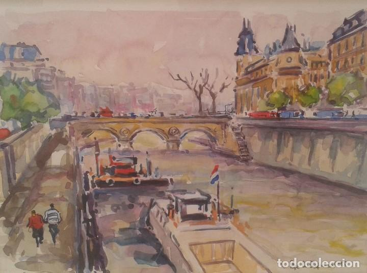 ACUARELA DE PEPE ANTEQUERA. (PARIS 1998) (Arte - Acuarelas - Contemporáneas siglo XX)