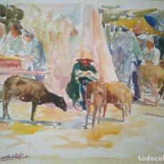 Arte: ACUARELA DEL RECONOCIDO PINTOR RACHID HANBALI. 33 X 28.5 CM.. Lote 90714675
