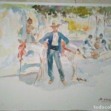 Arte: ACUARELA DEL RECONOCIDO PINTOR RACHID HANBALI. 35X 25 CM.. Lote 90715120