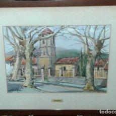 Arte: ACUARELA ORIGINAL DE JORDI GENDRA - ESGLESIA DE GUALBA. Lote 90722520