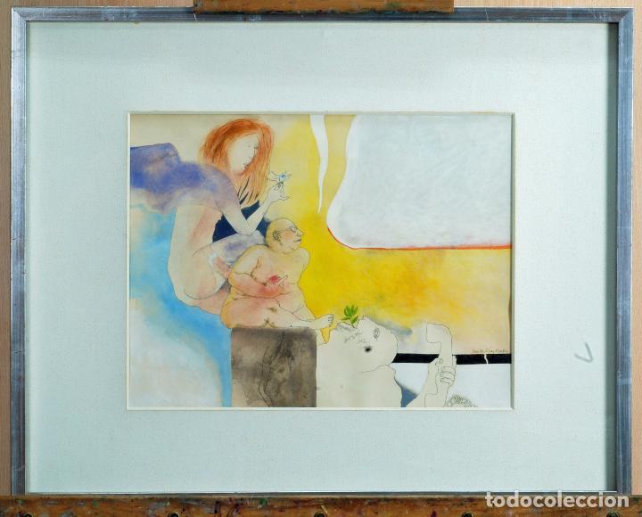 ACUARELA ESCENA ERÓTICA SANTOS DÍAZ MARTÍN (MADRID 1937) (Arte - Acuarelas - Contemporáneas siglo XX)