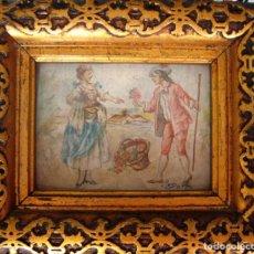 Arte: EXCELENTE MINIATURA. ESCENA GALANTE. FIRMADA MORALES EN 1772.. Lote 91002110