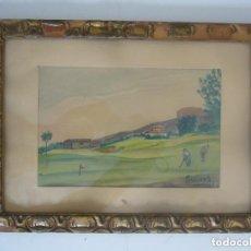 Arte: ACUARELA CAMPO DE GOLF AÑOS 50.LEER DESCRIPCION.. Lote 91118395