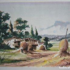 Arte: ACUARELA PAISAJE RURAL FORMADO BERRAL.. Lote 91261650