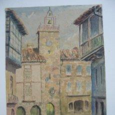 Arte: ACUARELA VISTA PALZA PUEBLO P.CASAL.LEER DESCRIPCION. Lote 91265085