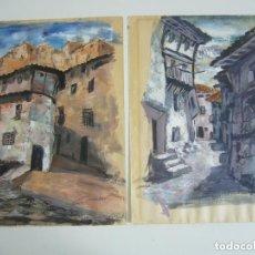 Arte: PAREJA DE ACUARELAS-GOUACHE CALLE-CASAS.LEER DESCRIPCION. Lote 91265635