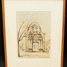 Arte: JAUME ROCA DELPECH ( SALT, 1911 - 1968) ACUARELA PAPEL. ARCO DE SANT BENET (SANT FELIU DE GUIXOLS). Lote 91435855