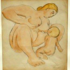 Arte: RICARDO OPISSO I SALA (TARRAGONA, 1880 - BCN, 1966) DIBUJO ACUARELADO. MATERNIDAD. Lote 91691235