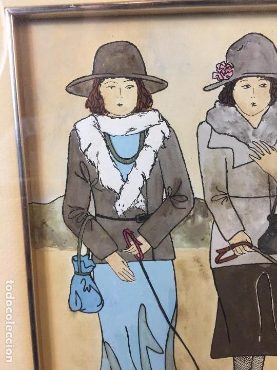 Arte: gouache tinta mujeres sombreros paseando perros scottish terrier basset hound firma sylvia sartori - Foto 2 - 91756410