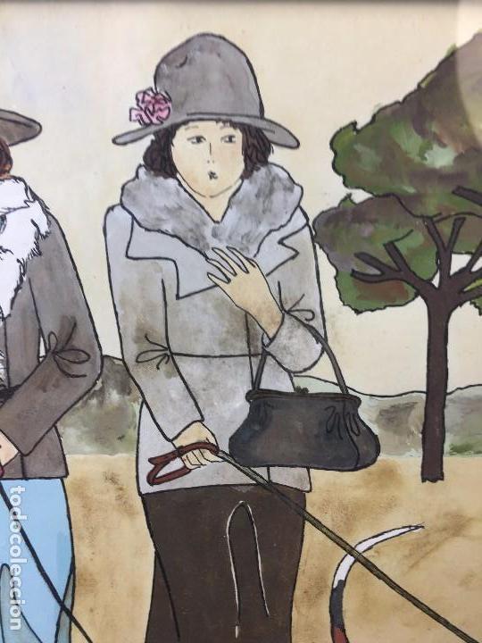 Arte: gouache tinta mujeres sombreros paseando perros scottish terrier basset hound firma sylvia sartori - Foto 3 - 91756410