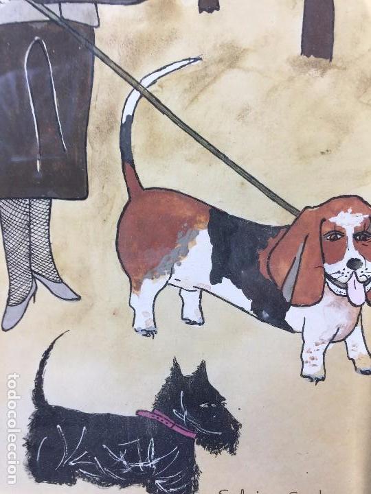 Arte: gouache tinta mujeres sombreros paseando perros scottish terrier basset hound firma sylvia sartori - Foto 4 - 91756410