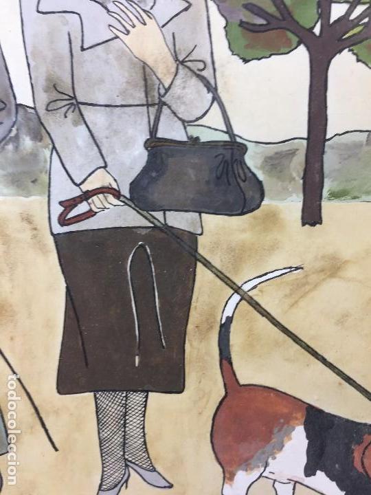 Arte: gouache tinta mujeres sombreros paseando perros scottish terrier basset hound firma sylvia sartori - Foto 5 - 91756410