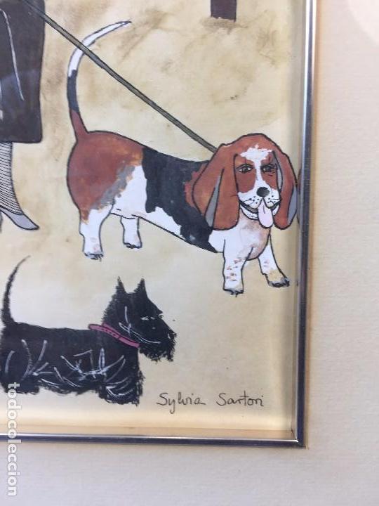 Arte: gouache tinta mujeres sombreros paseando perros scottish terrier basset hound firma sylvia sartori - Foto 6 - 91756410