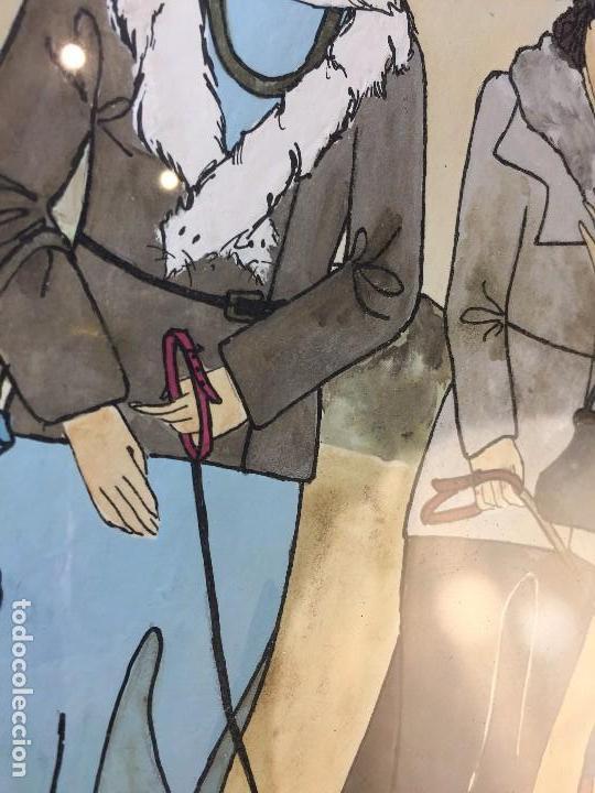 Arte: gouache tinta mujeres sombreros paseando perros scottish terrier basset hound firma sylvia sartori - Foto 9 - 91756410