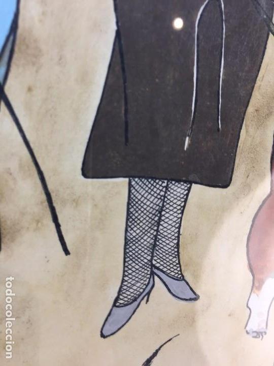 Arte: gouache tinta mujeres sombreros paseando perros scottish terrier basset hound firma sylvia sartori - Foto 11 - 91756410