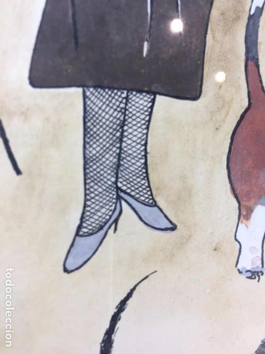 Arte: gouache tinta mujeres sombreros paseando perros scottish terrier basset hound firma sylvia sartori - Foto 12 - 91756410