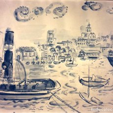 Arte: PUERTO DE TARRAGONA. ACUARELA SOBRE PAPEL. FIRMADO JOAN FLUVIÀ. ESPAÑA. CIRCA 1950. Lote 91931955